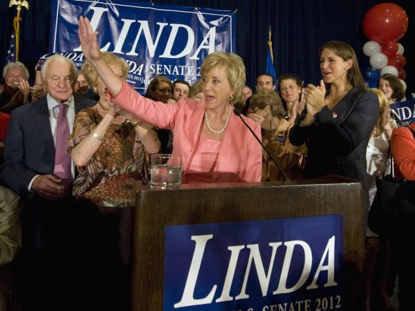 Republican Senate candidate Linda McMahon celebrates her win in the Connecticut primary over Chris Shays.