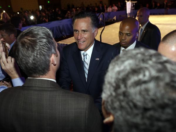Republican presidential nominee Mitt Romney meets audience members after he addressed the U.S. Hispanic Chamber of Commerce in Los Angeles on Monday.