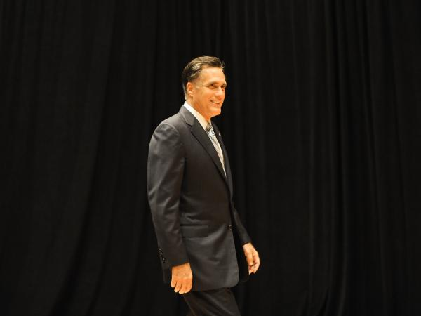 Republican presidential candidate Mitt Romney arrives to speak to the press in Costa Mesa, California, on September 17, 2012.