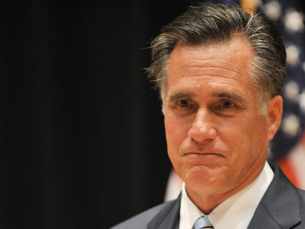 Republican presidential candidate Mitt Romney speaks to the press in Costa Mesa, California, on September 17, 2012.