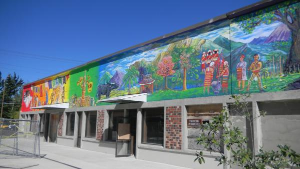 This pro-Tibet mural in downtown Corvallis is at the center of a dispute between the town's mayor and the Chinese government.