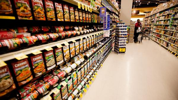 Canned food is a source of BPA exposure, but researchers aren't sure whether it causes childhood obesity. Above, the soup isle at a grocery store in Washington, D.C.