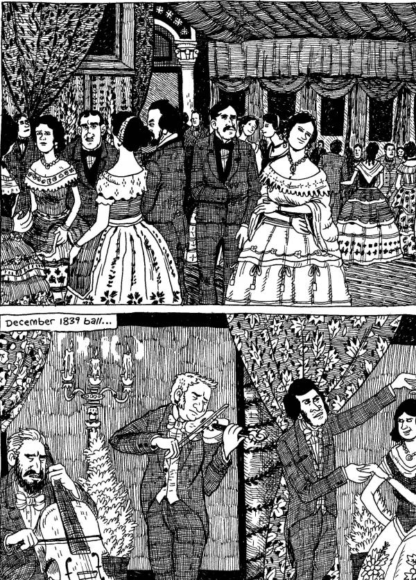Fancy types, cuttin' loose. From <em>The Hypo: The Melancholic Young Lincoln</em> © 2012 Noah Van Sciver