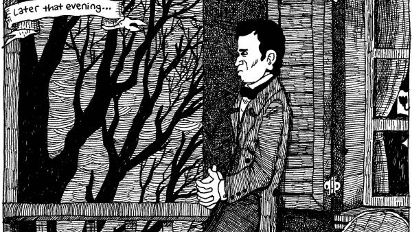 Porch Ponderin'. From <em>The Hypo: The Melancholic Young Lincoln</em> © 2012 Noah Van Sciver