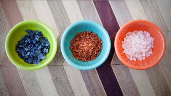 The Salt's most colorful salts. From left to right: Cypress black lava, red Hawaiian, and pink Bolivian rose.