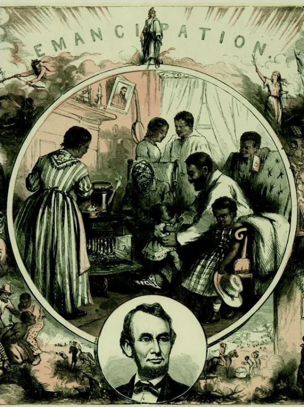 <em>Emancipation</em>, a wood engraving by Thomas Nast in 1865. The official Emancipation Proclamation was signed in 1863.