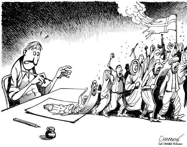 Patrick Chappatte made this drawing for the <em>International Herald Tribune</em> back in 2006, following a controversy over Danish cartoons that mocked the Prophet Muhammad.
