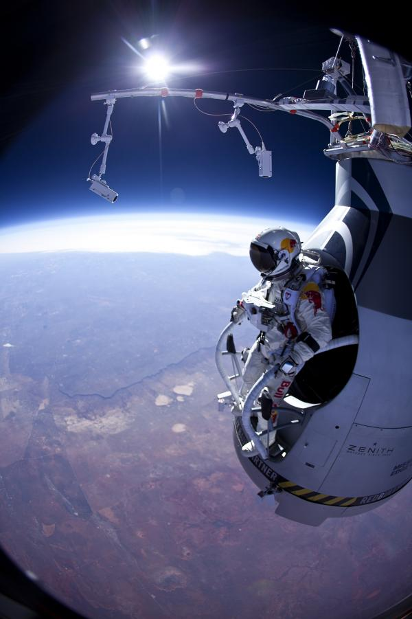 Felix Baumgartner prepares to jump on March 15 from his special capsule above New Mexico.