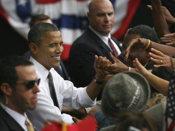President Obama shakes hands after a grassroots rally in Columbus, Ohio.
