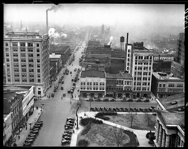 The Springfield public square, circa 1931.