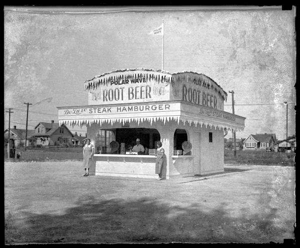Polar Wave root beer and sandwich stand, circa 1936.