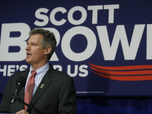 Sen. Scott Brown, R-Mass., speaks during a news conference in Boston last Friday.