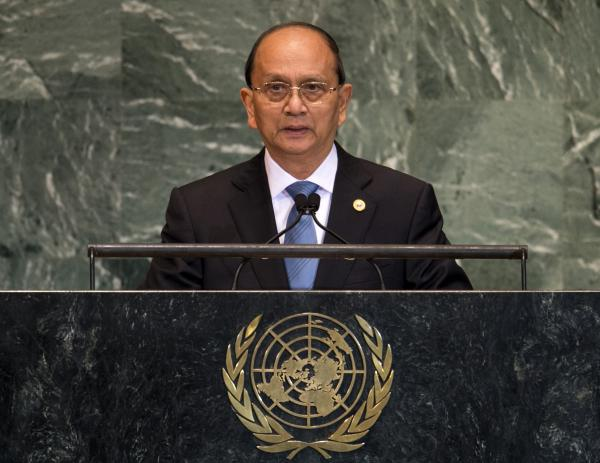 Myanmar President Thein Sein addresses the 67th United Nations General Assembly meeting on Sept. 27