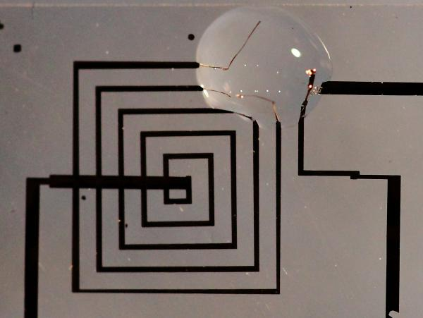 An electronic circuit in its first phases of dissolution.