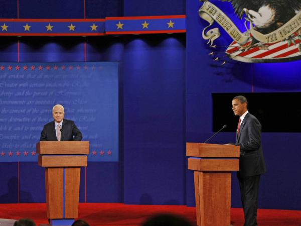Sen. John McCain and then-Sen. Barack Obama, at one of their 2008 presidential debates.