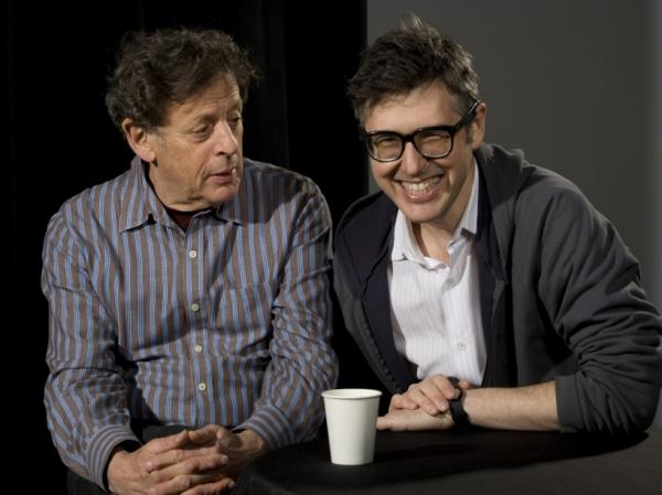 <strong>Glass on Glass</strong>: Philip Glass (left) and Ira Glass are second cousins.