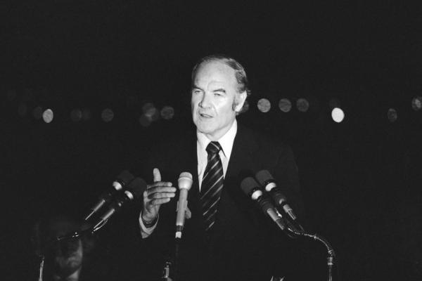 In the final hours of his campaign for the presidency, McGovern speaks at a rally in Long Beach, Calif., 1972. He lost the race to Richard Nixon in a landslide.