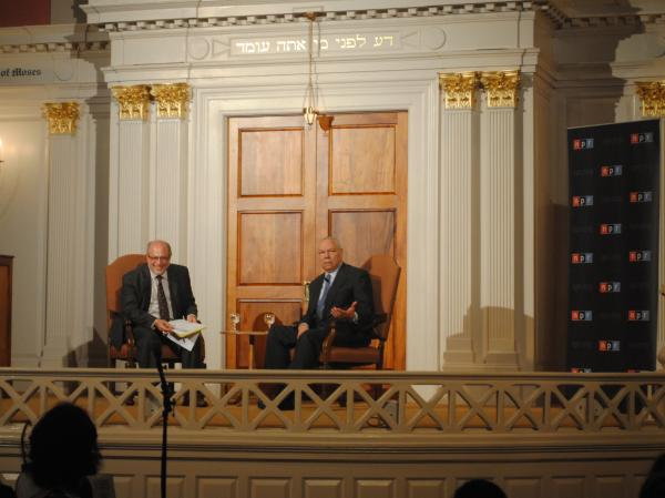 Robert Siegel and Colin Powell during a light moment of the evening.