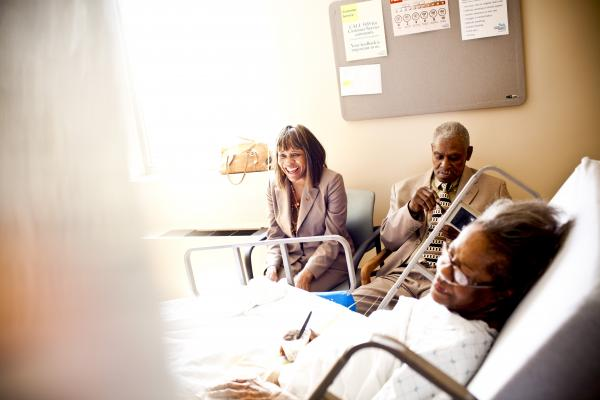 Natasha and Franklin visit her mother, Luella Brunson, at a local hospital. Along with caring for her aging father, Natasha keeps a close eye on her 80-year-old mother, who is often hospitalized with complications from chronic obstructive pulmonary disease.