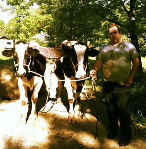 Michael K Chase and his cows, Click (R) and Clack (L)