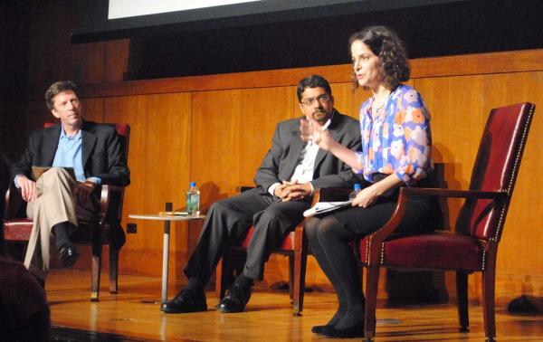 NPR Science Desk Correspondents Jon Hamilton, Alix Spiegel and Shankar Vedantam on stage at the Carnegie Institution for Science in Washington, D.C.
