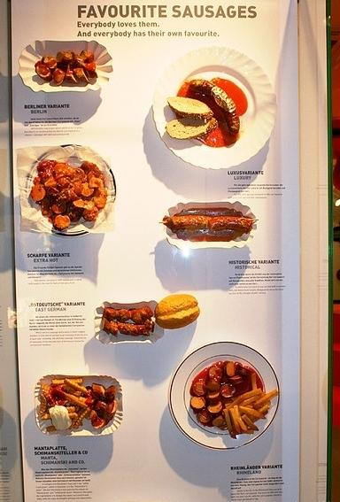 Berliners display their favorite sausages at the Currywurst Museum in Germany.