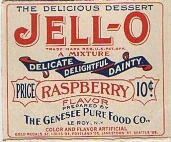 A historic Jell-O box at the Jell-O Gallery in Le Roy, N.Y.