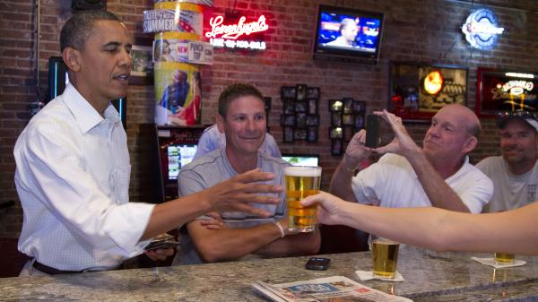 President Barack Obama enjoys a beer at The Pump House in Cedar Falls, Iowa, this month, but would you like to know what's in his homebrew? There's a petition for that.
