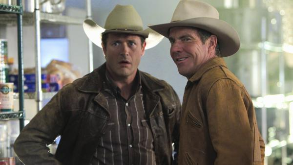 Sheriff Ralph Lamb (Dennis Quaid) and his brother, Jack Lamb (Jason O'Mara), investigate the murder of a craps dealer on <em>Vegas</em>.