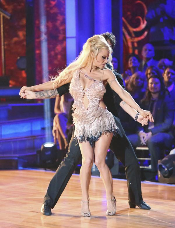Pamela Anderson performs with Tristan MacManus on <em>Dancing With the Stars: All-Stars</em>. Anderson was the first contestant eliminated on the show this season.