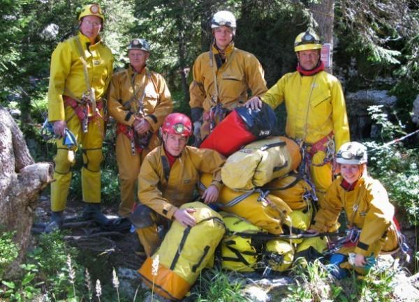 Photographer Robbie Shone (front, red helmet) is seen with his team at the Gouffre Berger in 2010. Also pictured from left: Tim Nixon, Bob Toogood, Mark Richardson, Mark Wright and Gina Moseley.