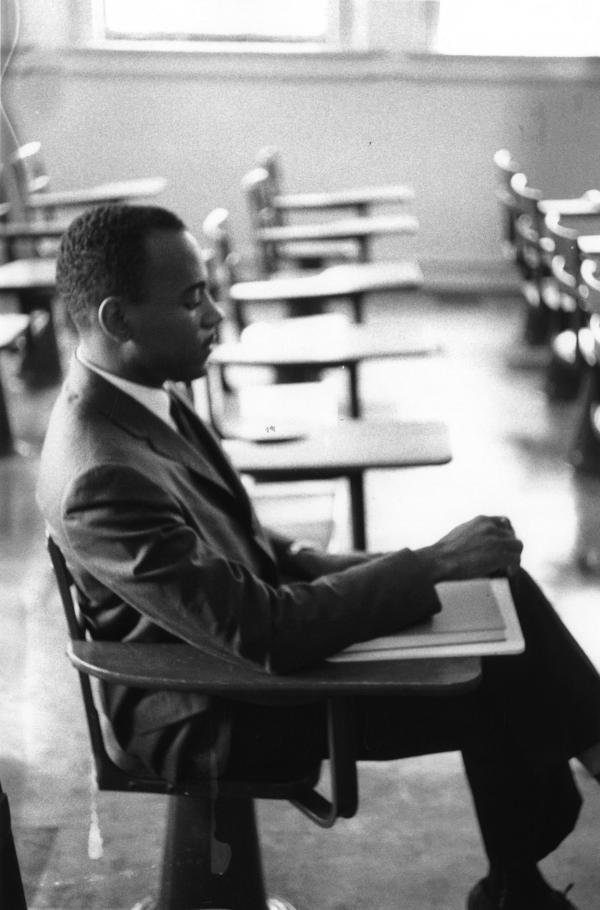 Photos of James Meredith's first day of classes at the University of Mississippi. The images are now a part of the Ed Meek Collection at the Meek School of Journalism and New Media at the University of Mississippi.