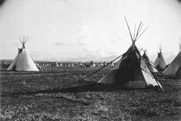 <em>Piegan Camp,</em> 1900. This was the first time Curtis had seen an entire Indian community intact and vibrant. He was enthralled.