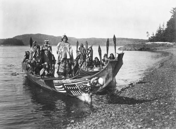 Wedding party, 1914. A still from the film <em>In the Land of the Head Hunters</em>, in which Curtis sought to re-create a mythic story of the Kwakiutl.