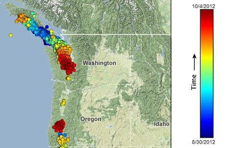 "The past five weeks saw two swarms of ""slow slip and tremor"" in the Northwest. Graphic via PNSN"