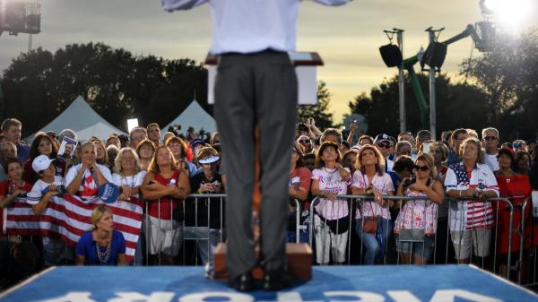 Republican presidential candidate Mitt Romney speaks during a campaign event in St. Petersburg, Fla. <em>Slate Magazine's</em> John Dickerson says likeability doesn't matter as much in a presidential campaign as you might think.