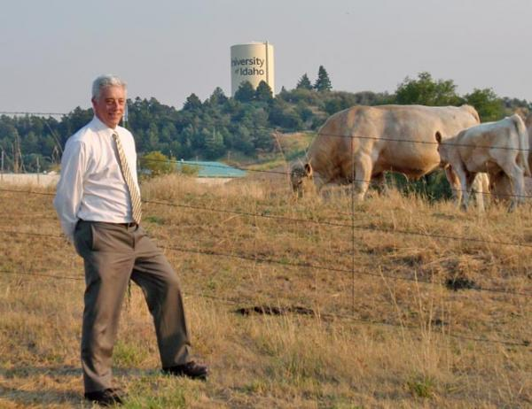 University of Idaho Professor Rod Hill and part of the university's purebred herd. Photo by Tom Banse