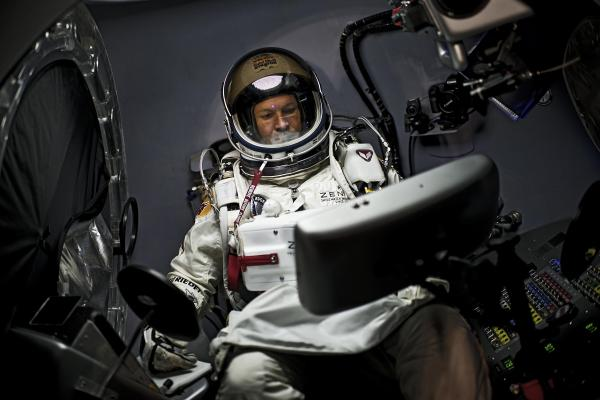 Felix Baumgartner of Austria sits in his capsule during the preparations for the final manned flight of the Red Bull Stratos mission in Roswell, New Mexico, on Oct. 6.