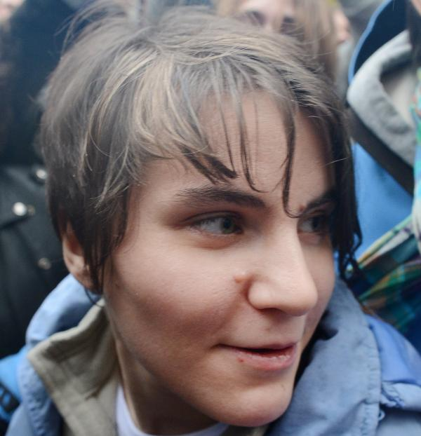 Yekaterina Samutsevich of Pussy Riot after her release from prison today in Moscow.