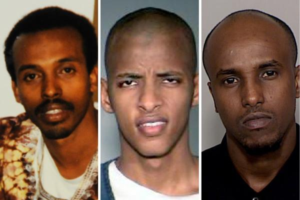 Abdifatah Yusuf Isse (center) and Salah Osman Ahmed (right) are among more than 20 young men who left Minnesota since 2007 to join al-Shabab. They are testifying against Mahamud Said Omar (left), who is accused of helping to send fighters and money to the al-Qaida-linked group in Somalia.