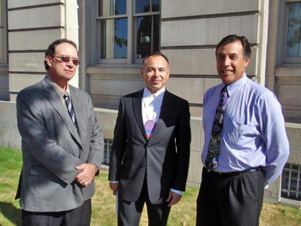 Colville tribal business council chairman John Sirois (center) with plaintiffs D.R. Michel (left) and Joe Pakootas outside federal court in Yakima. Photo by Tom Banse