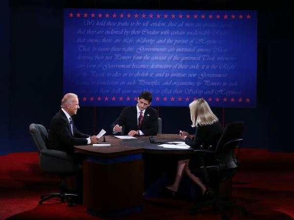 Vice President Joe Biden and Rep. Paul Ryan, R-Wis., participate in the vice presidential debate, moderated by Martha Raddatz of ABC News, Thursday in Danville, Ky.