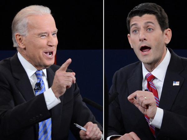 Vice President Joe Biden (left) and Republican vice presidential candidate Paul Ryan during Thursday's debate.