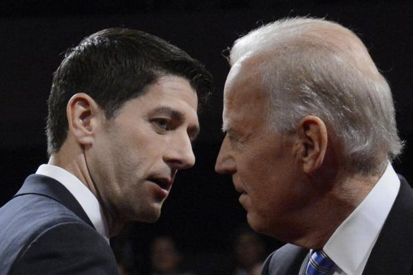 Republican Rep. Paul Ryan (left) and Vice President Joe Biden greet each other at the conclusion of the vice presidential debate in Danville, Ky., on Thursday.