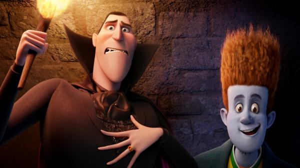 Dracula (voiced by Adam Sandler) and Johnnystein (voiced by Andy Samberg) in <em>Hotel Transylvania</em>.