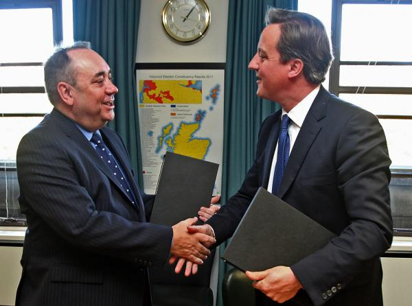 Scottish First Minister Alex Salmond and Prime Minister David Cameron shake hands after signing an Independence Referendum deal in Edinburgh, Scotland.