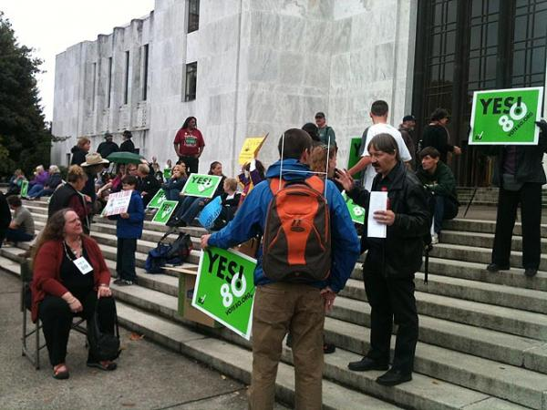 Marijuana activists rally in support of Measure 80 in front of the Oregon state capitol Monday. Photo by Virginia Alvino