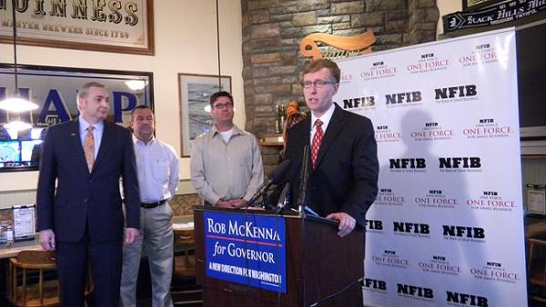 Republican candidate for governor Rob McKenna speaks at an NFIB endorsement event near Olympia. Photo by Austin Jenkins