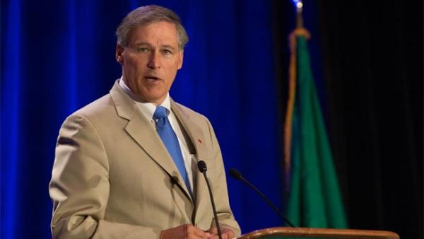 Democratic candidate for governor Jay Inslee speaks at the Washington Conservation Voters Breakfast of Champions. Photo by Shawn Murphy via Flickr