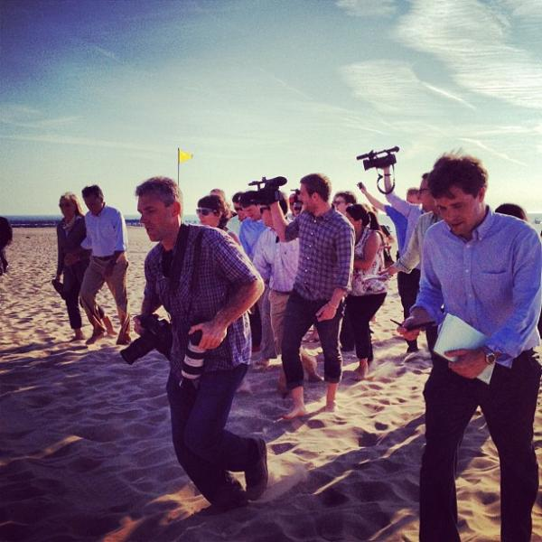 "There is something supremely amusing about watched an out-of-shape press corps (self included) race after Romney on the sand. <a href=""http://web.stagram.com/p/217507925068748513_14310900"">@ashleyrparker<strong><br /></strong></a>"